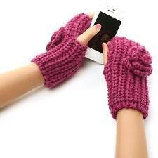 Ladies Winter Chunky Hand Knit Crochet Flower Fingerless Half Open Gloves Purple