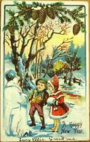 Snowman & Children, Pinecones - 1910 Embossed, Color Litho New Year Postcard