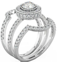 925 Silver Ladies 3 piece Wedding Engagement Round Cut Halo Bridal Ring Set