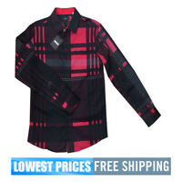 Pavini Men's NWT Italian Style Long Sleeve Button Down Dotted Check Shirt Dk Red