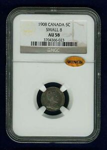 CANADA EDWARD VII 1908 5 CENTS COIN ALMOST UNCIRCULATED CERTIFIED NGC AU58