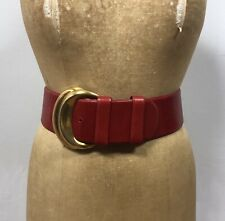 VINTAGE DONNA KARAN COUTURE ITALY Red LEATHER BELT Small