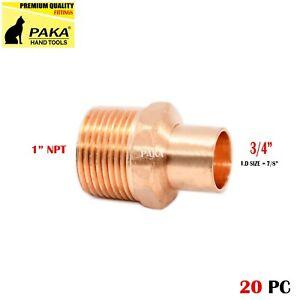 "3/4"" C x 1"" Male NPT Threaded Copper Adapters (20 PCS )"