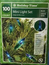100 Blue Mini Lights Wedding Xmas 21.5 ft Green Wire by Holiday Time