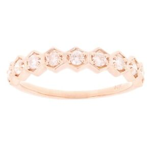 14k Rose Gold 0.35ctw Diamond Polygon Stackable Wedding Ring Band Size 6.5