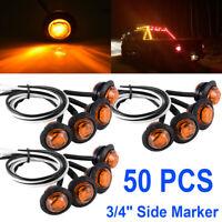 "50 x 3/4"" Amber 3 LED Round Side Marker Indicator Lights 12V Truck Trailer Lorry"