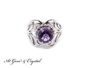 Genuine Amethyst Gemstone Ring - Sterling Silver (Size US 8)
