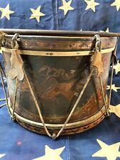 Rare Original Antique Civil War Drum with Painted and Inlaid Decoration