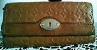 "Women's Cool Brown Leather ""FOSSIL"" Designer Clutch Wallet Purse"
