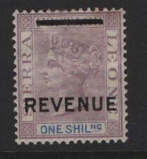 SIERRA LEONE  1/-. Mauve & Blue QV  Overprinted  REVENUE Mounted Mint Toning