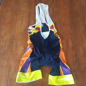 Capo Mens Large Cycling Bibshorts Compression Shorts Bib L Blue Orange Purple
