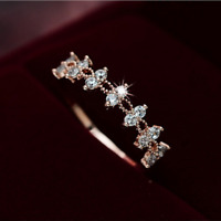 Simple White Sapphire Eternity Wedding Ring Rose Gold Women's Engagement Jewelry