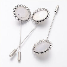 10pcs Antique Silver Brass Cravat Pin Setting Brooch Pins Findings Nickel Free
