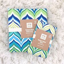 POTTERY BARN Teen  Newport Wave twin duvet cover sham 2pc green aqua mint blue