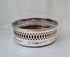 Quality Sterling Silver Wine Coaster/ Bottle Stand 1990/ Dia 13 cm