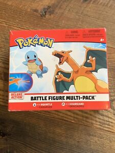 """Pokemon Deluxe Action 4.5"""" Charizard & Squirtle Battle Figure Multi-Pack FLAW"""