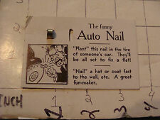 vintage ADAMS circa 1950's trick --card only--: THE FUNNY AUTO NAIL