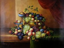 Original Realism Oil Painting On Canvas, Hand Painted Signed, Fruits Still Life