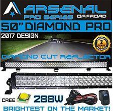 """No.1 50"""" 7D Pro Optic Diamond Series 288W CREE LED Light Bar Spot/ Flood Combo"""