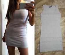 H&M light grey knit bodycon stretch mini dress UK 8-10 Small