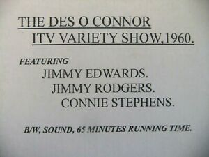 16mm film THE DES O CONNOR ITV VARIETY SHOW 1960. Jimmy Edwards & Jimmy Rodgers