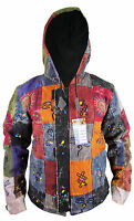 Hippie Boho Vintage Retro Cotton Symbols Fleece Lined Jacket Festival Nepalese