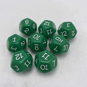 Pack of 8 Dice 12 Sided Game Green