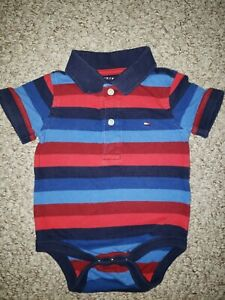 Tommy Hilfiger Boys Striped Polo Bodysuit 6/9 M