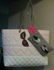 BETSEY JOHNSON- Blush/ Heart Quilted Tote Handbag w/Sunglass Pouch Brand New