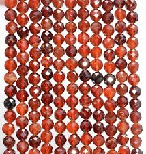 4MM  HESSONITE GARNET GEMSTONE GRADE AAA MICRO FACETED ROUND LOOSE BEADS 15.5""