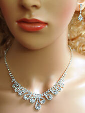 SC Bridal Crystal Necklace Earrings Set Prom Wedding Pageant Jewelry N1D2