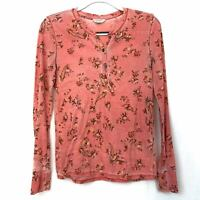 Lucky Brand Waffle Knit Top S Floral Henley Pink Stretch Long Sleeve Women Small