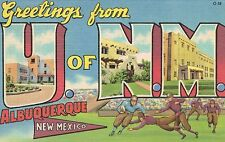 """Large Letter Postcard,""""Greetings From University of New Mexico"""",Linen,c.1940-50s"""
