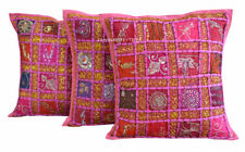 Set-3 Indian Handmade Cotton New Zari Work Hippie Bohemian Sofa Cushion Cover