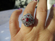Sterling Silver White & Ruby Diamonique Art Deco Style / Vintage Ring