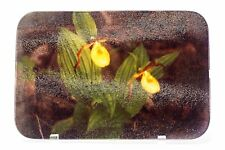 Yellow Ladyslipper Orchids Glass Cutting Board Serving Tray Hand Imprinted Photo