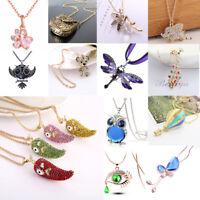 Best Women Silver Owl Rhinestone Crystal Pendant Necklace Sweater Chain Jewelry