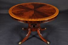 Small Elegant Mahogany Wood Round Lyre Table - Entry Table