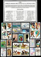 1984 COMPLETE COMMEMORATIVE YEAR SET OF MINT -MNH- VINTAGE U.S. POSTAGE STAMPS