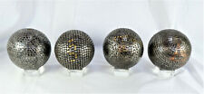 Set of 4 Antique French Petanque Nail Balls/Boules on Glass Stands