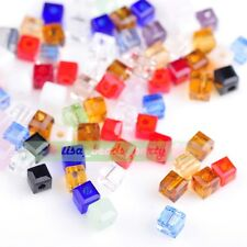 100pcs 3mm Cube Square Faceted Crystal Glass Charm Spacer Beads Multi-Colored