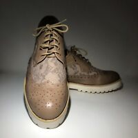women's brown oxfords with lace ornament brand new size 10-11
