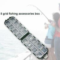 Plastic Fishing Lure Fish Hook Bait Storage Tackle Box Container 8 Gri Case O2E9