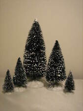 5 Lemax Christmas Village Snow Covered Trees - Set A largest size is 9""