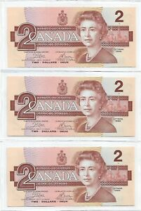 Canada 1986 3 run of $2, Pick# 94a, Crow & Bouey sign., Gem Uncirculated