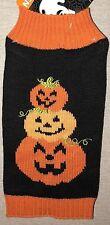 Simply Wag Black & Orange Pumpkin Halloween Dog Sweater - S