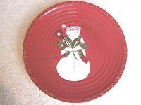 TRACY PORTER Christmas Jingle Bell Let's Hang Mistletoe Dinner Plate Cherry Red