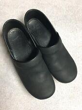 Dansko Womens Black Leather Slip On Work Clogs Shoes Size Sz 40 U.S. 9 M