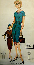 Vtg 60s Business Lunch or Cocktail Bloused Sheath Dress Butterick 2316 Bust 36