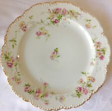 THEODORE HAVILAND LIMOGES GOLD TRIMMED PINK ROSES SCALLOPED DINNER PLATE